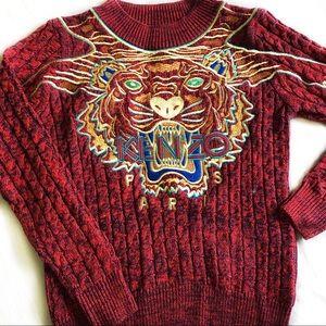 Tiger Logo Embroidered Burgundy Sweatshirt
